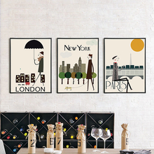 Cartoon New York City Landscape Busy Figure Canvas Mural Poster Special Nordic Wall Art Paper Ornament for Office Shop Cafe Home
