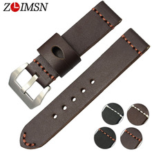 ZLIMSN Thick Genuine Leather Watch Band 22mm 24mm Watch Belt Silver Clasp Stainless Steel Buckle Replacement Watches Accessories(China)