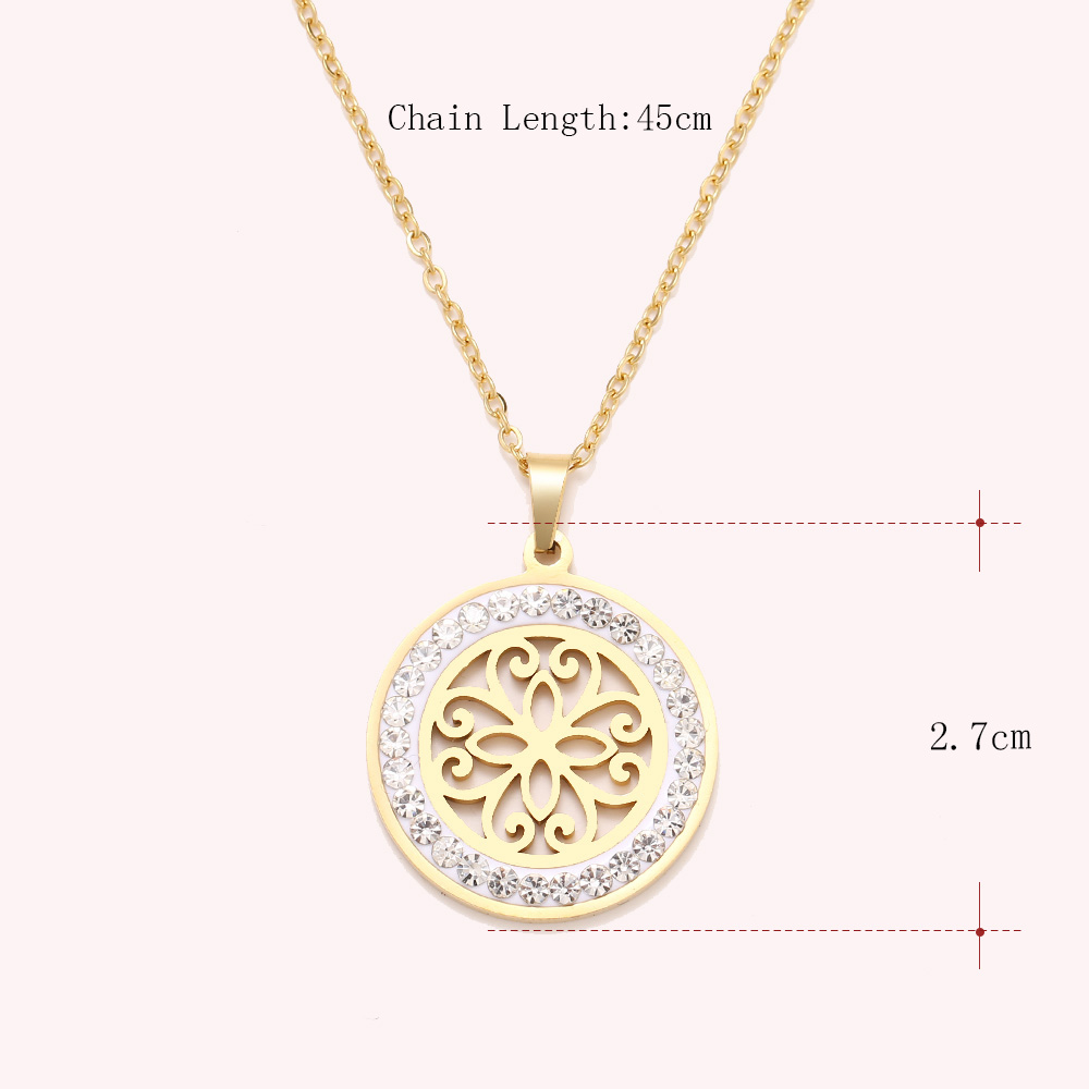 Cacana Stainless Steel Crystal Round Pendants Necklace Women Jewelry Hollow Trendy Necklaces Donot Fade Valentine's Day Gift (3)