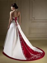 2017 New Glamorous Halter Wedding Dress White/Ivory and Red Princess Formal Dress Elegant Long Bridal Gown