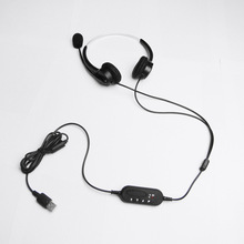 Hands-free Call Center USB Binaural Surround Stereo Headset Headphone with Mic Microphone Earpiece for Laptop Desk Telephone(China)