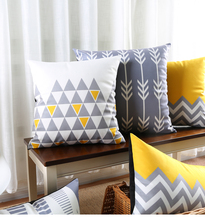 Geometric Stripe Cushion Covers Gray and Yellow Custom Pillows Cover Supersoft pillow case Bedroom Sofa Decoration