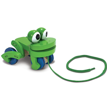 Baby Wooden Hand Frog Push And Pull Animal,Children's Frolicking Frog Pull  Toy Car Outdoor Sports
