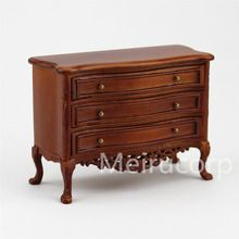 1/12 scale miniature furniture Collectable Wooden hand carved drawer side cabinet