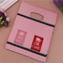 New Design Wholesale 100pcs/lot 20*25cm Lovely Bear Plastic Shopping Bags With Handle Favor Present Gift Packaging