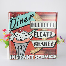 Diner Root Beer Floats Shakes Instant Service Vintage Home Decor Restaurant Vintage Metal Sign Shabby Chic Tin sign wall decor(China)