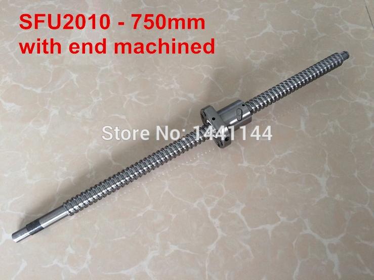 Ball screw SFU2010 - 750mm plus 1pcs  2010 Ballnut end machined<br>