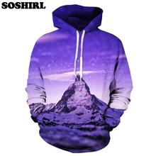 SOSHIRL New Harajuku Galaxy Snow Capped Mountains 3D Hoodies Starry Sky/Amazing Scenery Hooded Sweatshirt Unisex Dropship