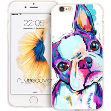 Fundas Boston Terrier Dog Clear Soft TPU Silicone Phone Cover for iPhone 7 7Plus Case for iPhone 5S 5 SE 6 6S 6Plus 4S 4 Case.