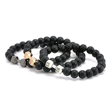 New Design 8mm Black Stone Beads Fitness Dumbbell Bracelets Men's Energy GYM Barbell Jewelry(China)
