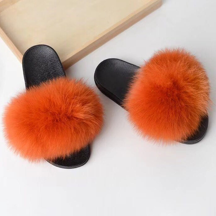 fur slippers orange 1