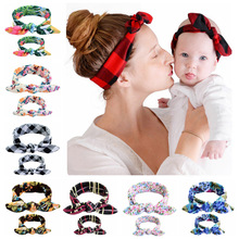 1SET 2pcs Women Kids Hair Bands Mom And Daughter Flower Headband Hair Elastic Bow Headbands Headwear Hair Accessories Gifts 736