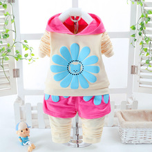 2017 New Spring Autumn Children's Clothing Suits Sunflower Children Hoodies + Pants Children Tracksuit Flower Set Clothes Girls