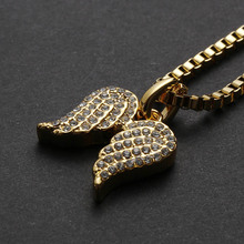 1 PC Fashion Little Angel Angel Wings Crystal Pendant Alloy Chain Necklace Wedding Gifts(China)