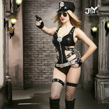 9712 8 Pcs/Set New Ladies Leather Policewome Fancy Halloween Costume Sexy Police Outfit Women Sexy Police Cosplay Costumes(China)