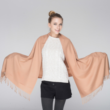 Dongqingsiyu high quality soft Cashmere Women's Winter Scarf Solid Wrap Shawl Tassel Pashmina Long Blanket Cachecol Luxury Brand(China)