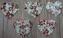 "Free Shipping 50pcs 4"" Saint Valentine's Day Print Chiffon Rosettes Heart Flower for Girls Hair,Clothes,Hat,Bag Accessories"