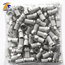 New Copper 100 Pcs Twist on RG6 F Type Coaxial Cable Connector Plugs(China)