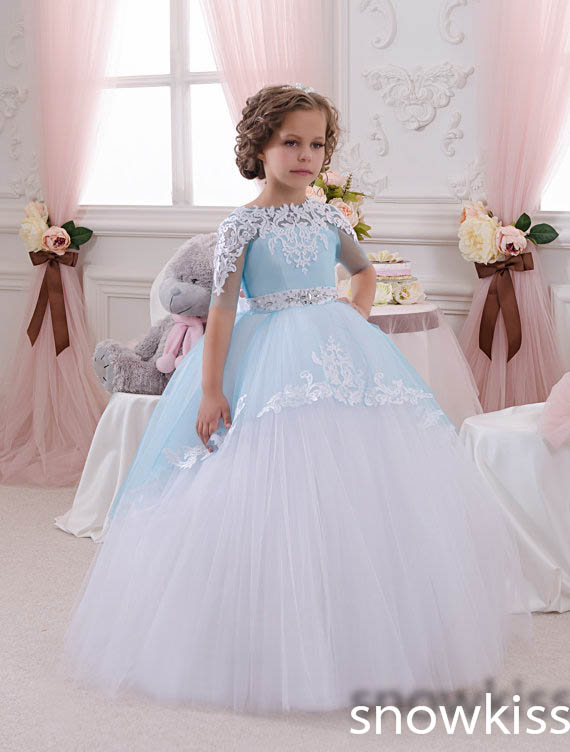 2016 Light Blue Princess Sheer Lace Flower Girl Dresses Pageant Prom baby party frocks for girls first communion puffy gowns<br><br>Aliexpress