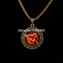 The fires of hell horse necklace equestrian red fire horse Leather Necklace nature animal art pendant round jewelry  L 098