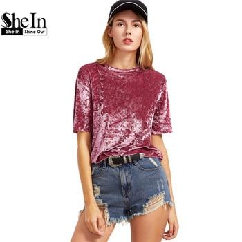 SheIn Female Ladies Casual Tops Women Tops for Spring Vintage Blouse Pink Drop Shoulder Short Sleeve Velvet Top C3001