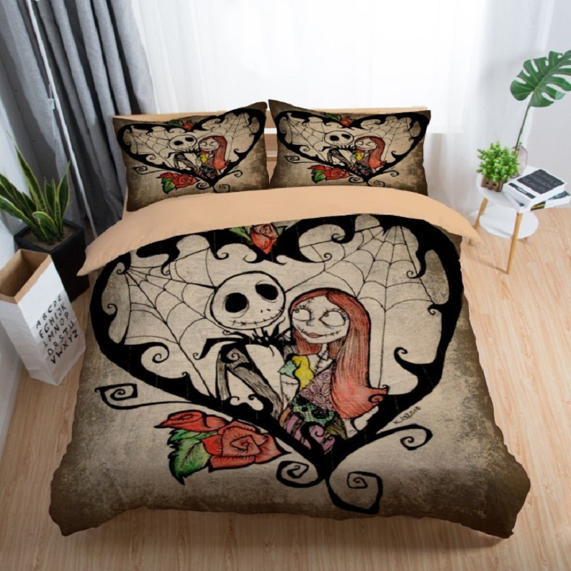 couple bedding skull 3D Nightmare Before Christmas bedding set Jack and Sally Valentine`s Day Rose Decor christmas duvet cover 5 (12)