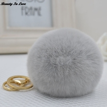 Wholesales 17 color Fluffy Rabbit Fur Pompom Keychain Women Bag Charm Real Natural Fur Balls Genuine Fur Pom Poms Key Chain f252(China)
