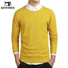 Kenntrice Yellow Sweater Jumper Men Coarse Wool Solid O-Neck Euro Style Warm Men Pullover Slim Cheap Clothes China Maglione uomo