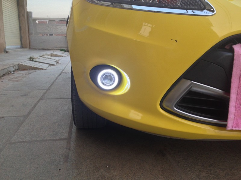 LED DRL daytime running light COB angel eye, projector lens fog lamp with cover for ford focus, fiesta, 2 pcs<br><br>Aliexpress