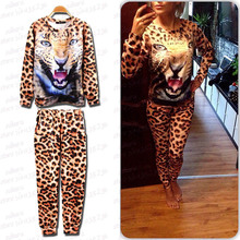 New Suit Women Leopard Animal Printed Sweatshirt Hoody Hoodies tracksuits Pullovers Sportset Suit Tops Outerwear S/M/L