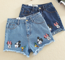 2017 Summer Women's Casual Student High Waist Short Shorts Cartoon Print Mickey Light Blue Sanding Denim Shorts Back Hole(China)