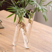 MagiDeal Glass Vase 20cm Small Fresh 3 Clear Test Tube Conjoined Flower Vase Home Office Decor(China)