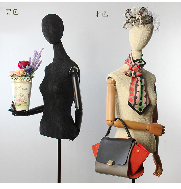 Female Half Body Cloth Mannequin With Wooden Arms Props Clothes Display Rack Wedding Dress Women Fabric Mannequin (4)