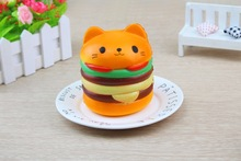 9CM Squishy Yummy Hamburger Cat Cake Squeeze Slow Rising Stretchy Phone Charm Pendant Bread Kid Toy Jumbo Home Decor P10(China)