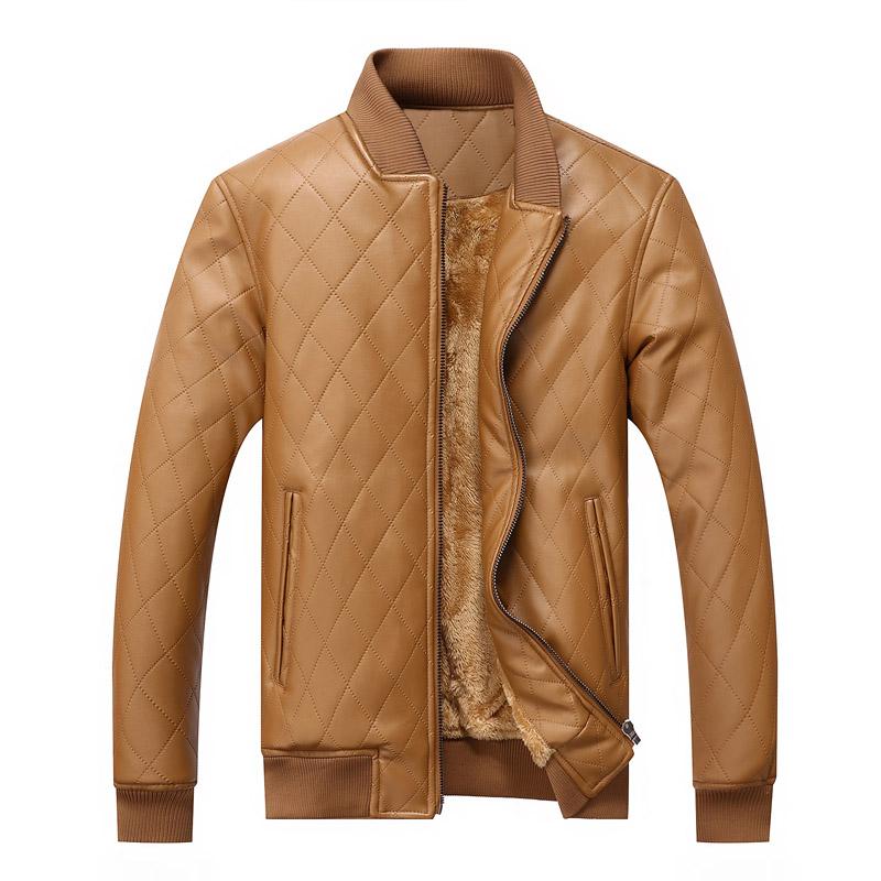 mens leather winter bomber jacket fur khaki