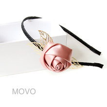 Princess sweet Lolita hair accessory Handmade rose hair band pink rose with  leaf gentlewoman  headband hair accessories FG-16
