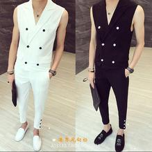 Men's England Style Slim Men's suit vest Sexual cocktail Necklace Korean Hair Stylist suit vest and Pants Set(China)