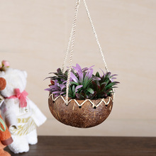 Natural handmade Hanging Flower Baskets Coconut Plant Basin Coconut Shell Hanging Basket Flower Pot for Balcony Decoration(China)
