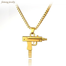 2016 HOT New Engraved Hip Hop For Gun Shape Uzi Golden Pendant Fine Quality Necklace Gold Chain Popular Fashion Jewelry(China)