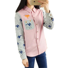 Embroidery Fox Shirts Women 2016 New Fashion Spring Patchwork Pink Gray Color Long Sleeve Casual Blouse Tops Lady Cute Shirts