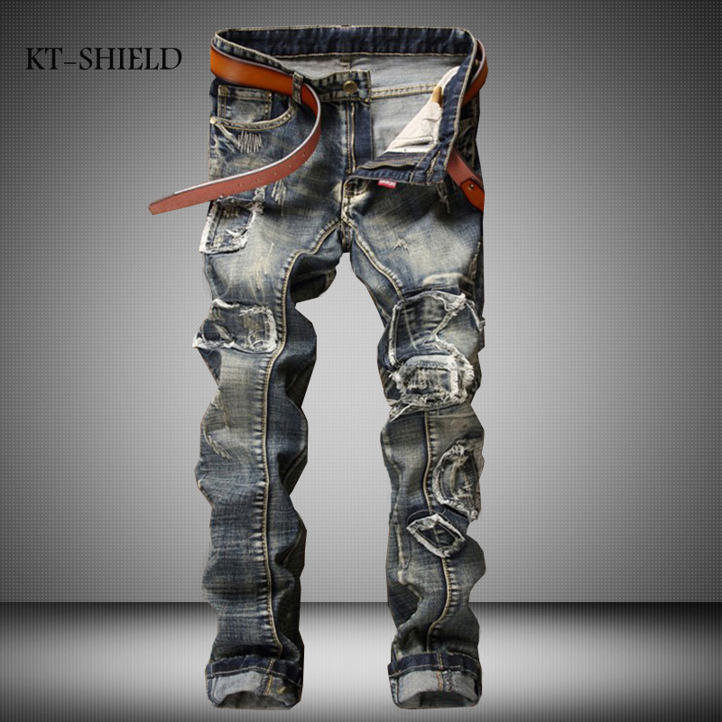 High Quality Patchowrk Jeans Men New Brand Designer Ripped Biker Jeans Pants Elastic Denim Overall Slim Fit Casual Mens ClothingОдежда и ак�е��уары<br><br><br>Aliexpress