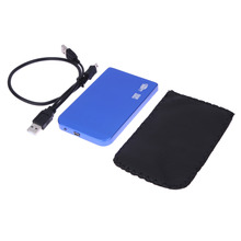 USB 2.0 SATA inch HD HDD Hard Disk Drive Enclosure Aluminium Alloy Blue Color 1TB External Storage Case Box For PC Wholesale(China)