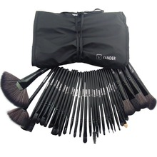 makeup brushes brush kit 32pcs 32 pcs set Professional Makeup Brushes Cosmetic Make up Brush Set Black Leather Bag organizer(China)