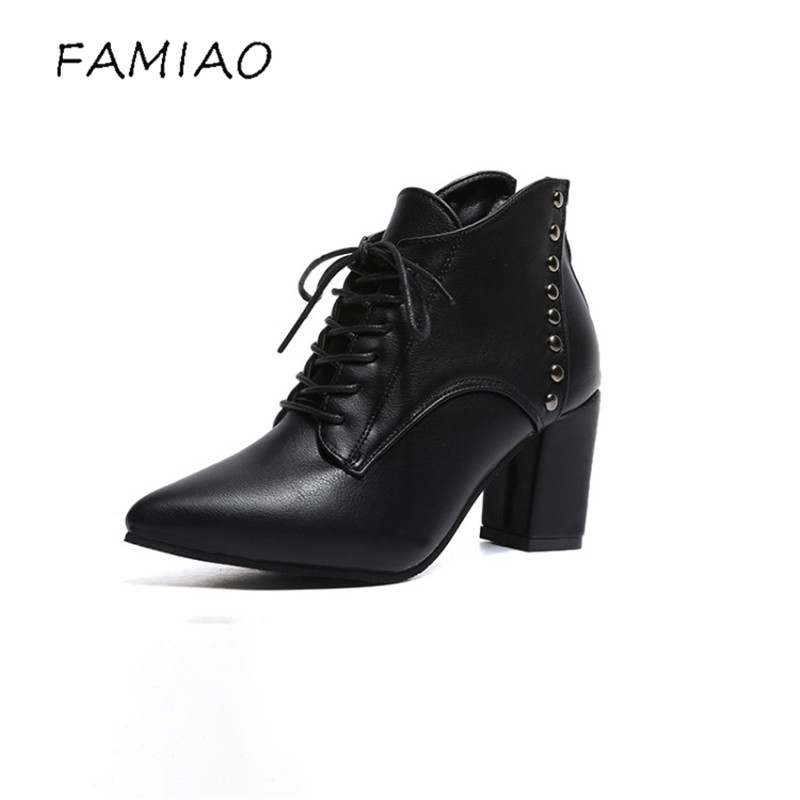 FAMIAO women boots sexy rivet pointed toe high heel ankle boots for women scarpe donna 2017 ladies lace up botas feminina<br>