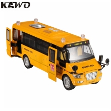 KAWO Pull-Back Action Yellow Grand US School Bus with Light & Music Metal Large Toy Onibus with Lights and 5 Open-able Doors