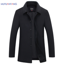 Mu Yuan Yang Autumn & Winter Single Breasted Woolen Coats 50% Off Men' s Wool Jackets Turn-down Collar Wool & Blends Overcoat(China)