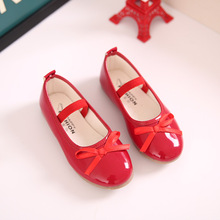 Basic Style Kids Red/Black Flat Single Shoes For Perform Wedding Girls Classic Princess Bowtie Patent Leather Shoes