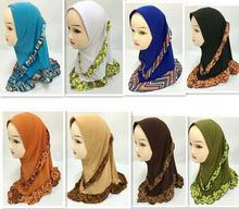 Latest 2016 Girls Kids Muslim Hijab Islamic Arab Scarf Shawls Flower Pattern about 45cm