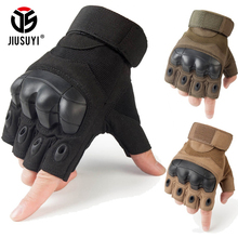 Tactical Fingerless Gloves Military Armed Combat Paintball Airsoft Shooting Anti-Skid Carbon Knuckle Half Finger Gloves(China)