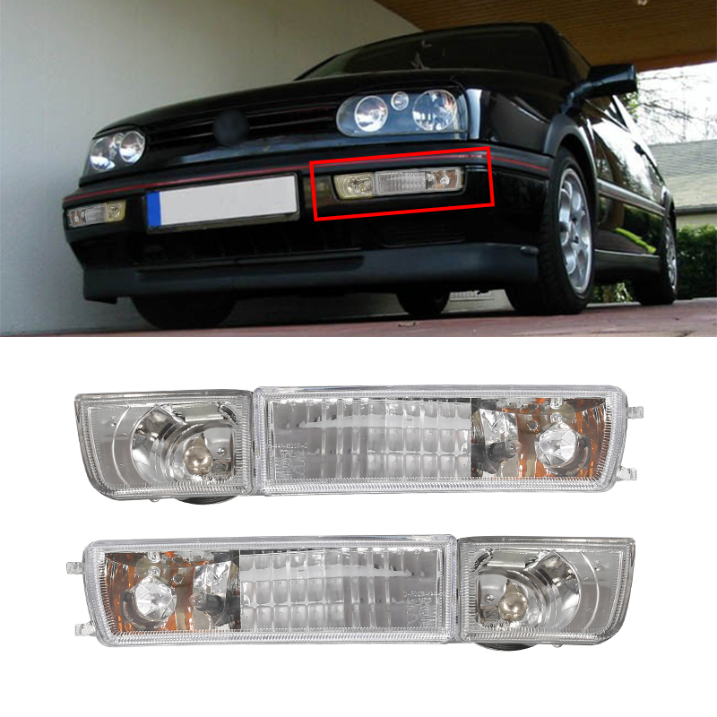 A Pair of Transparent Lens For 1993-1999 Volkswagen Golf Jetta MK3 Front Grille Fog Lights+Turn Signals Combination High Quality<br>